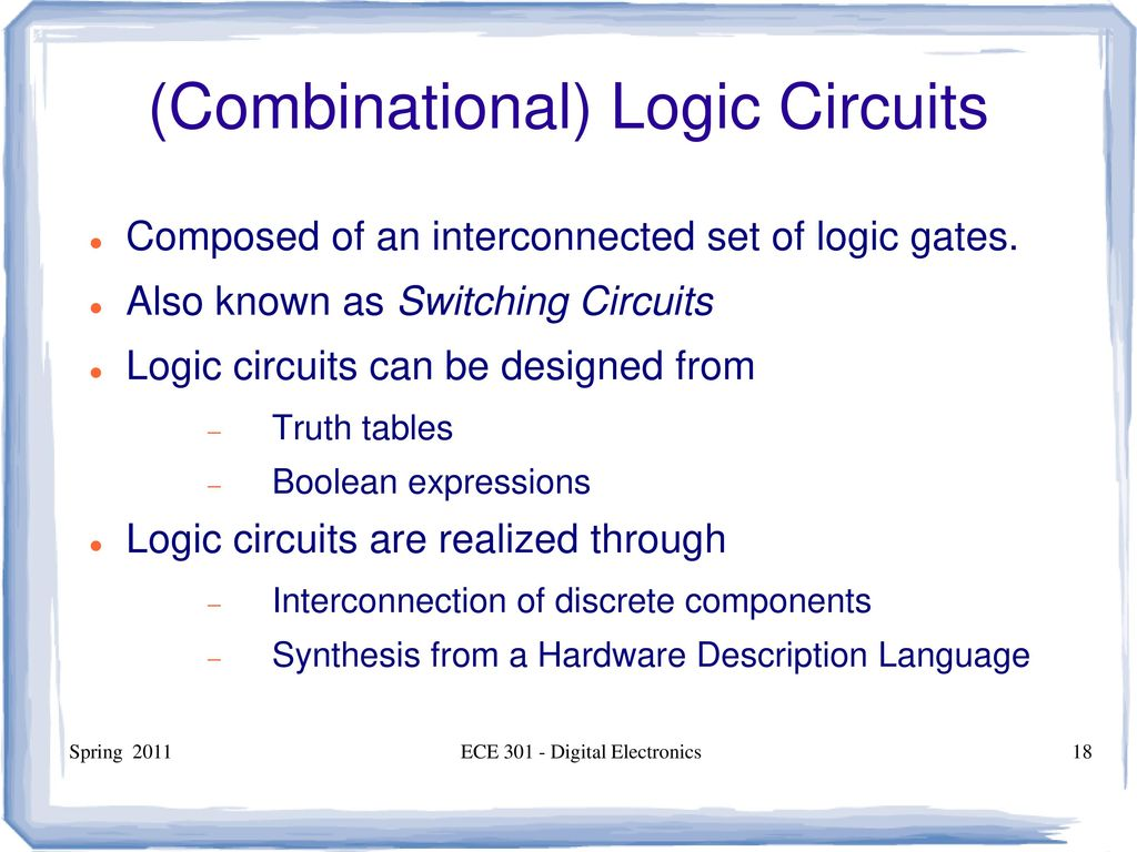 Ece 301 Digital Electronics Ppt Download Logic Gates Diagram With Truth Table Combinational Circuits
