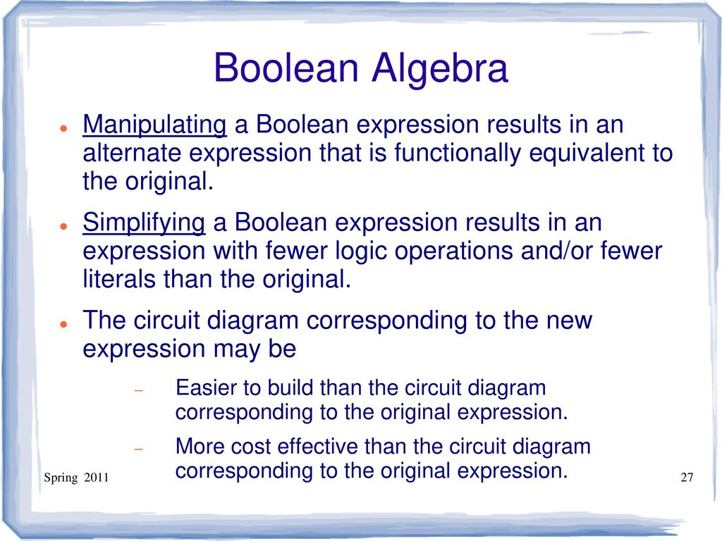 Ece 301 Digital Electronics Ppt Download Circuit Diagram To Boolean Expression 27 Algebra Manipulating A Results