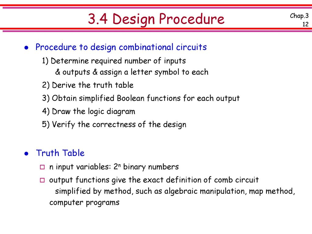 Chap 3 Combinational Logic Design Ppt Download Diagram Circuit 34 Procedure To Circuits