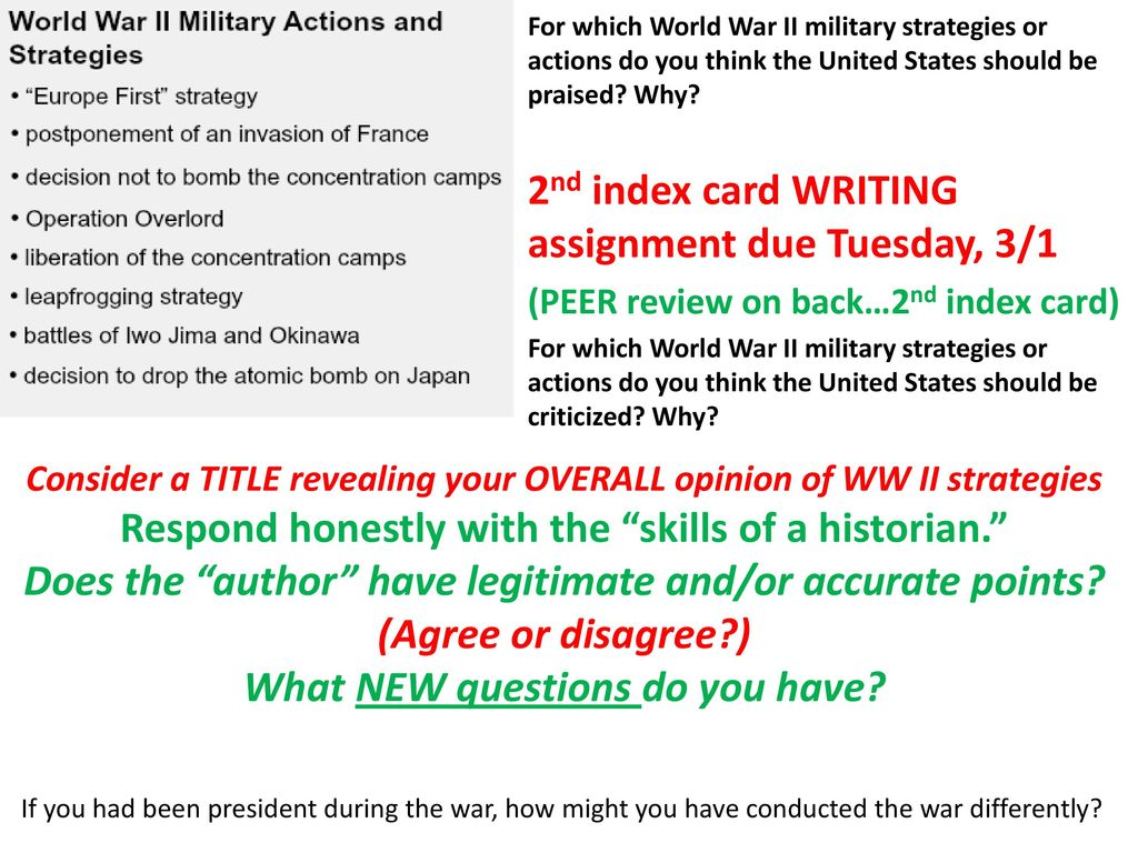 Week 25: February 22-26, 2016 Fighting WW II (Ch  17, 35-36) - ppt