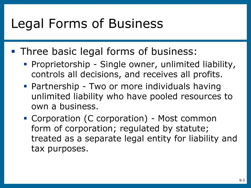 What are the organizational and legal forms of entrepreneurship 40
