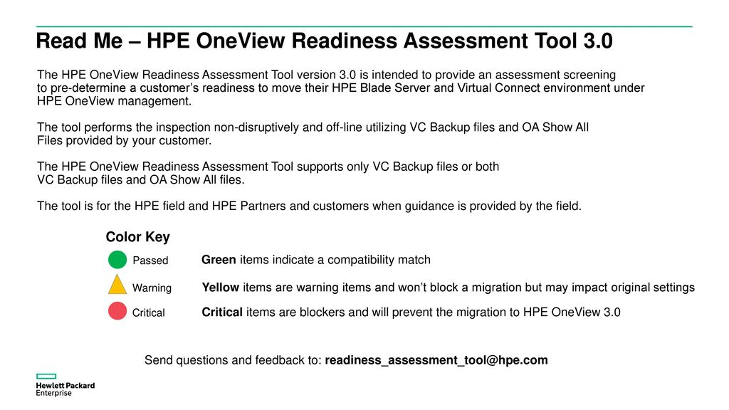 HPE OneView Readiness Assessment Tool 3 0 Update - ppt download
