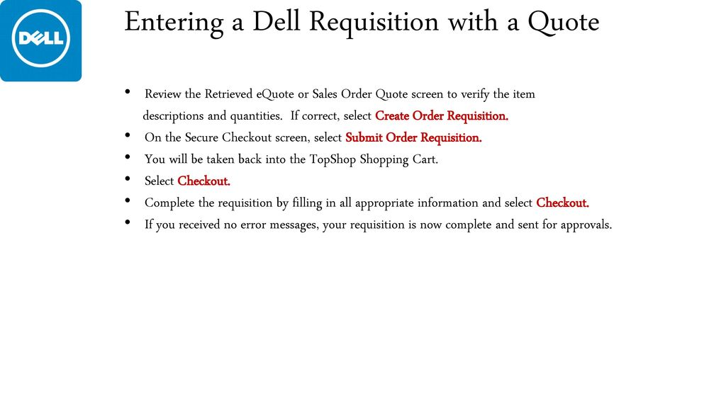 Dell Quote To Order | Computer Ordering In Topshop Ppt Download