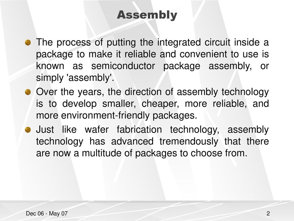 Chapter 6 Ic Assembly Packaging And Testing Ppt Download Uses Of Integrated Circuit 2