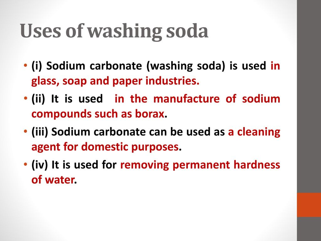 sodium compound used for softening hard water