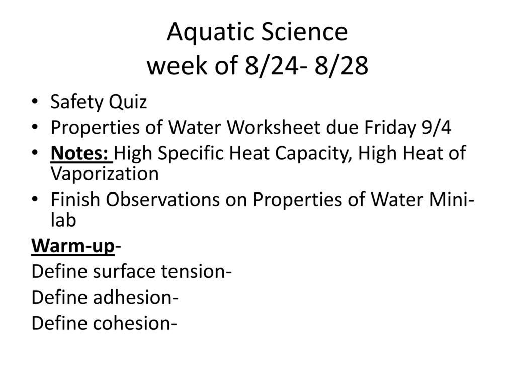 Aquatic Science Week Of 824 828 Ppt Download