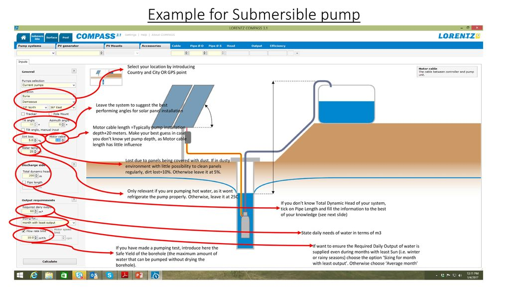 Example of using solar pumping design software: - ppt download
