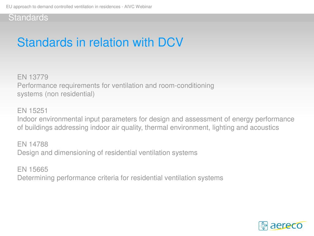 EU approach to demand controlled ventilation in residences