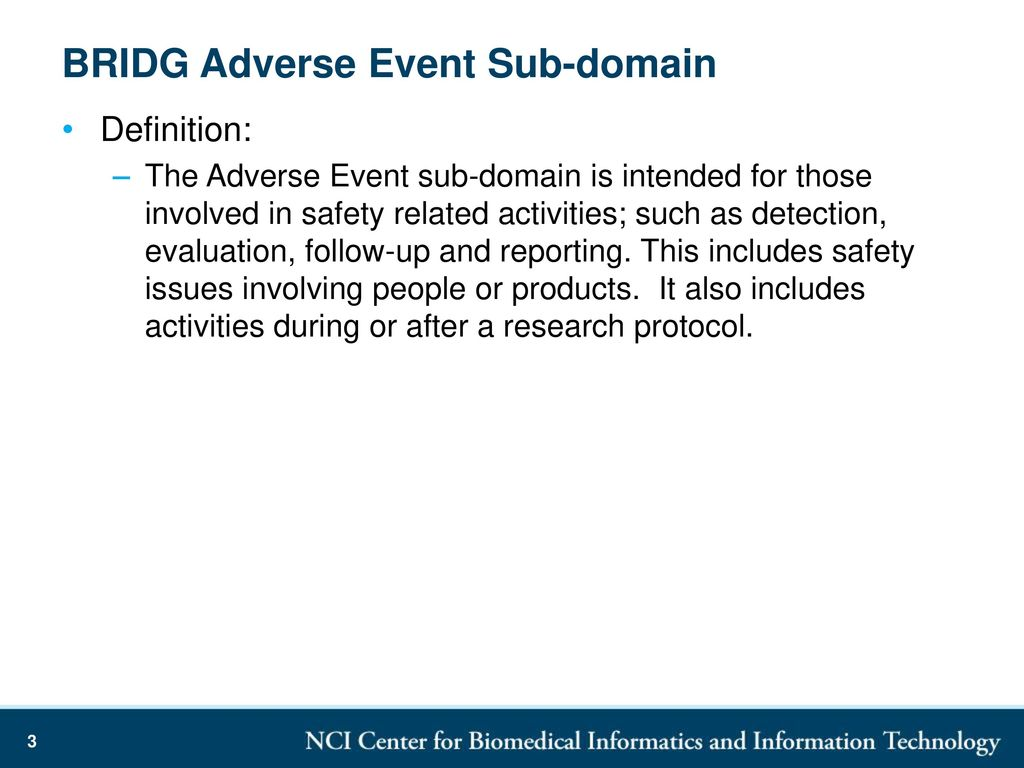 bridg adverse event sub-domain summary - ppt download