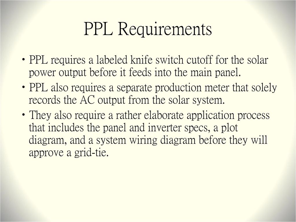 Residential Grid Tie Solar Power Systems Ppt Download System Wiring Basics Ppl Requirements Requires A Labeled Knife Switch Cutoff For The Output Before It
