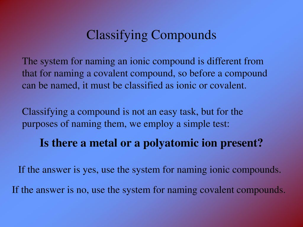 Naming Chemical Compounds A Review Ppt Download