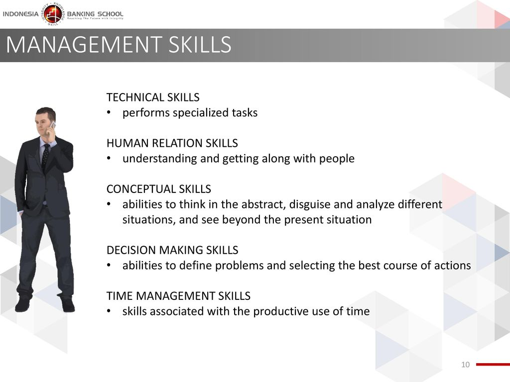 MANAGEMENT SKILLS TECHNICAL SKILLS performs specialized tasks