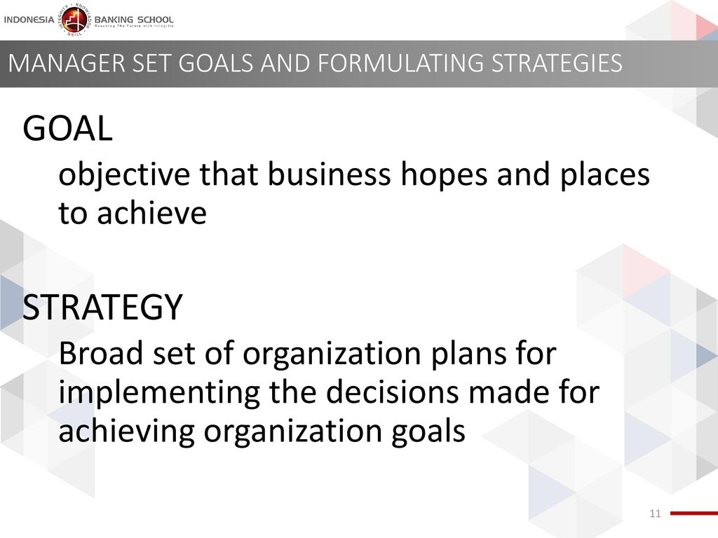 MANAGER SET GOALS AND FORMULATING STRATEGIES