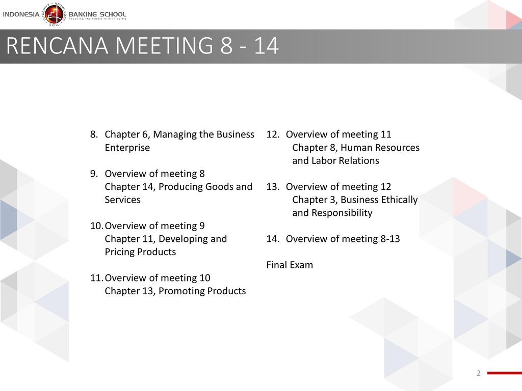 RENCANA MEETING Chapter 6, Managing the Business Enterprise