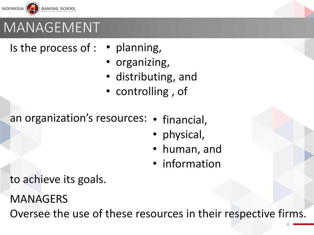 MANAGEMENT planning, Is the process of : an organization's resources: