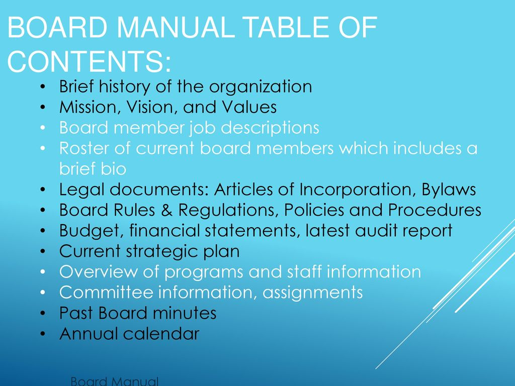 8 Board manual Table of Contents: