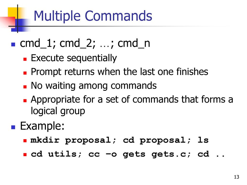 Multiple Commands In One Line
