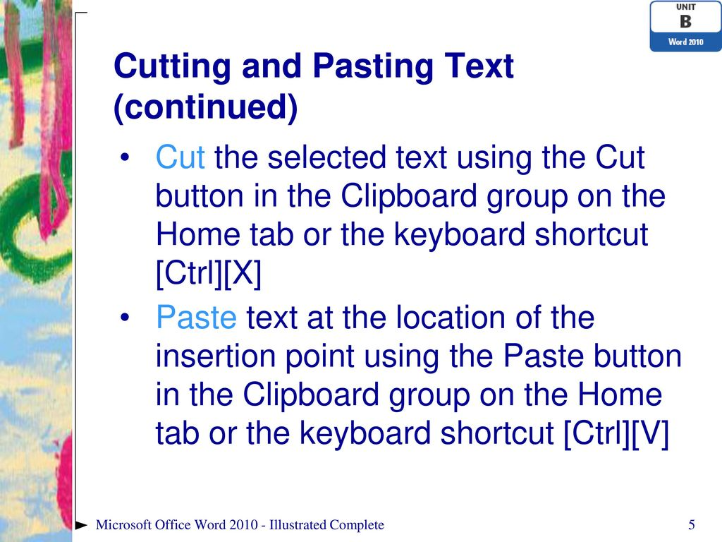 Cutting Shortcut text for