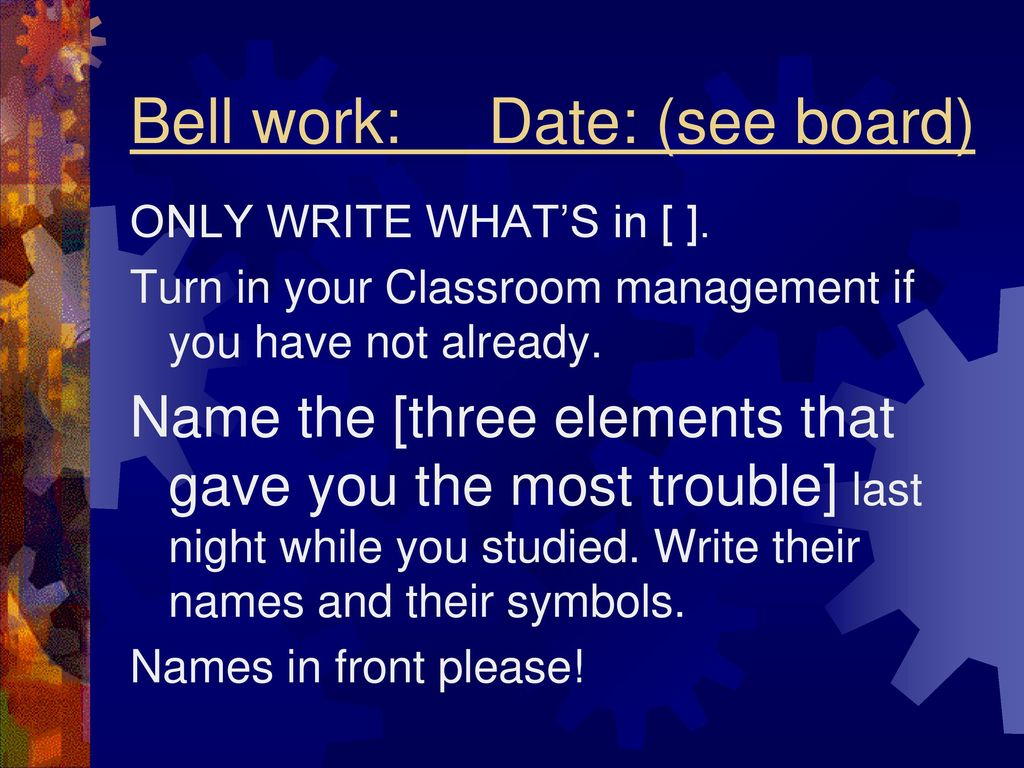 Elements Names And Symbols Quiz The Atoms Menu First Bell Work With Circuit Picture By Max123 Directions