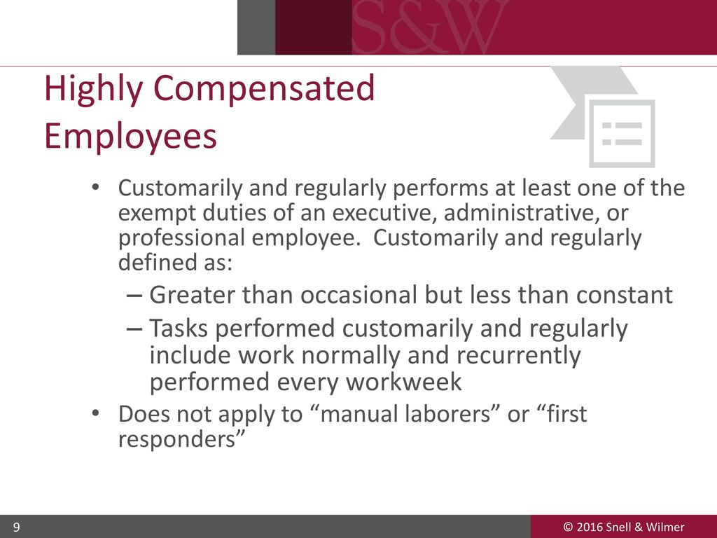 updates on exempt employees under the flsa - ppt download