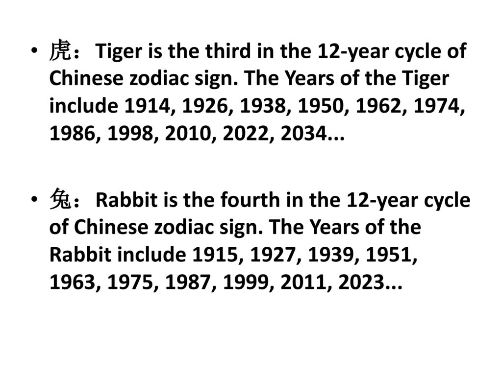 Tiger Is The Third In 12 Year Cycle Of Chinese Zodiac Sign