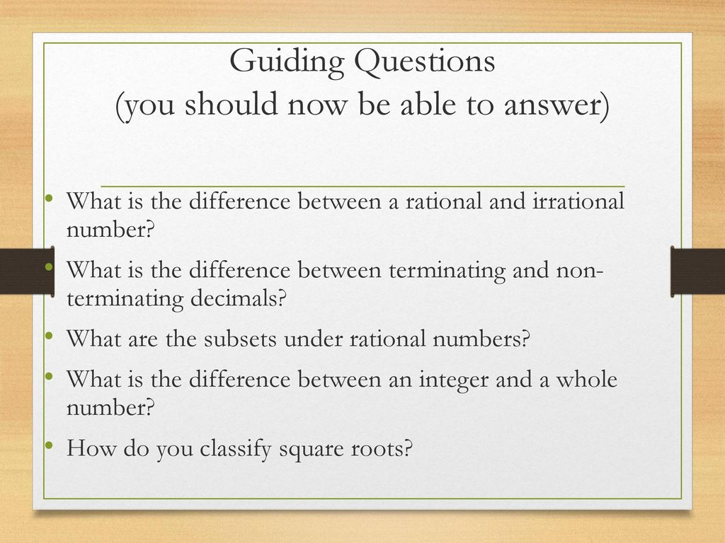 Guiding Questions (you should now be able to answer)
