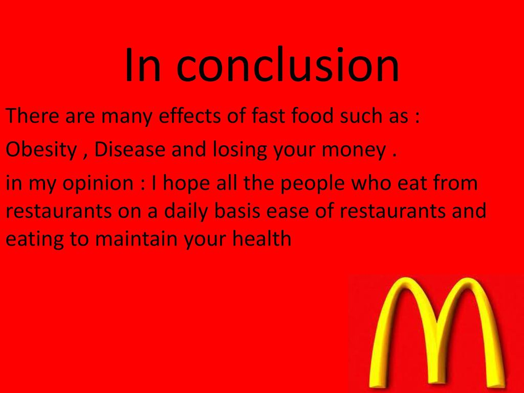 Effects of fast food ppt download