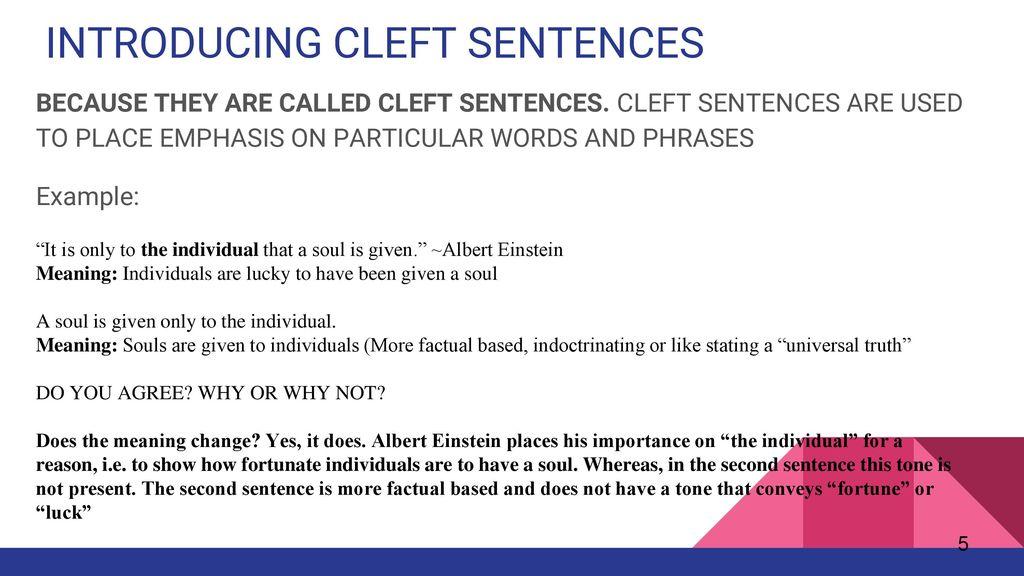 Cleft Sentences Group 1: Alexandra Burns, Parvesh Chainani, Amélie  Durocher, Amanda Montaque, Natalia Perlina. - ppt download