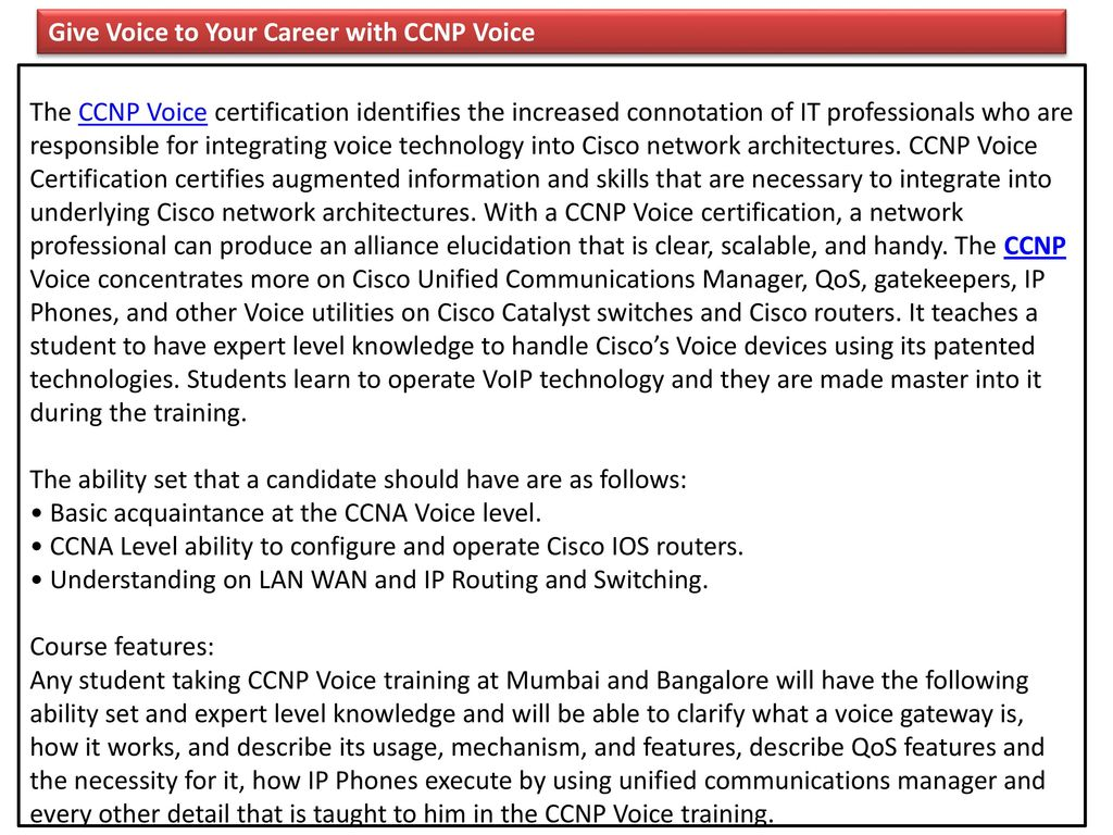 Give Voice To Your Career With Ccnp Voice Ppt Download