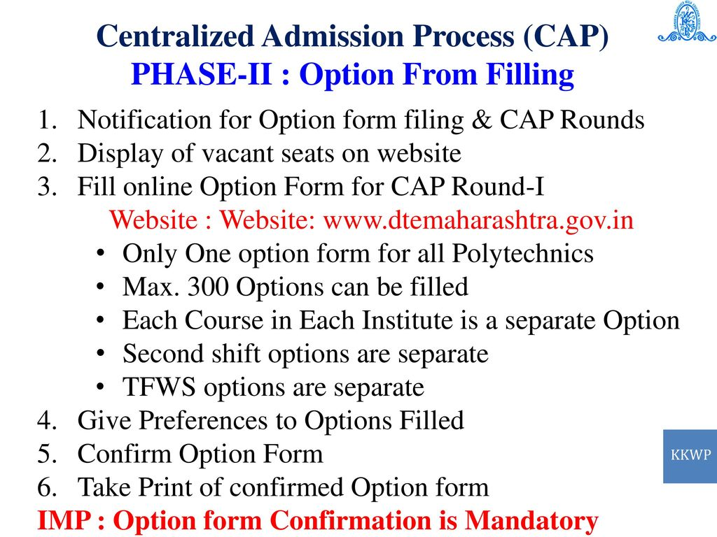 9c100bfd268 16 Centralized Admission Process (CAP) PHASE-II   Option From Filling