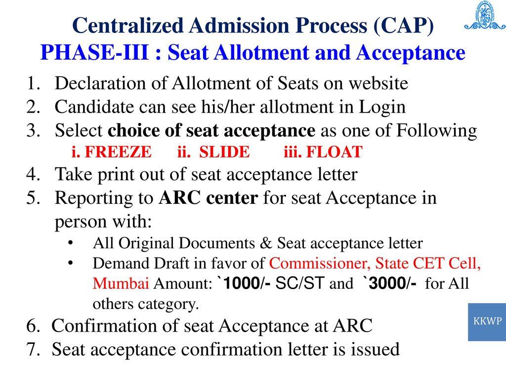 87ec1d6dd13 Centralized Admission Process (CAP) PHASE-II   Option From Filling. 17 Centralized  Admission ...