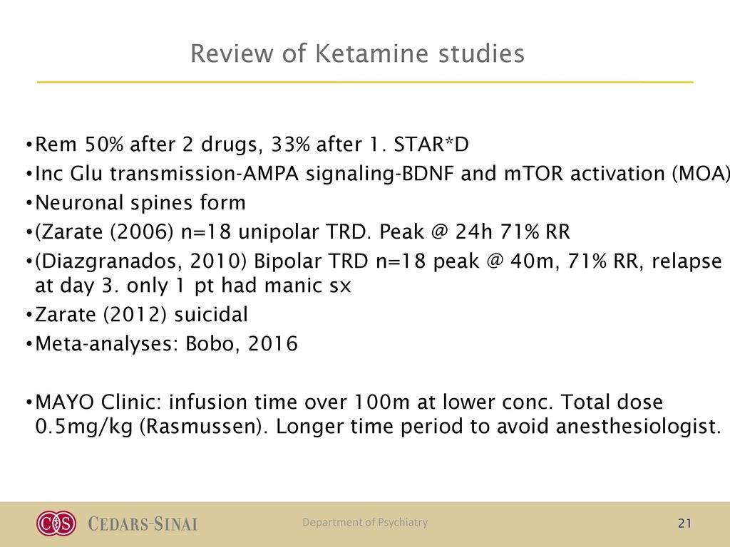 The Challenges of Utilizing Ketamine in the Clinical Setting APA