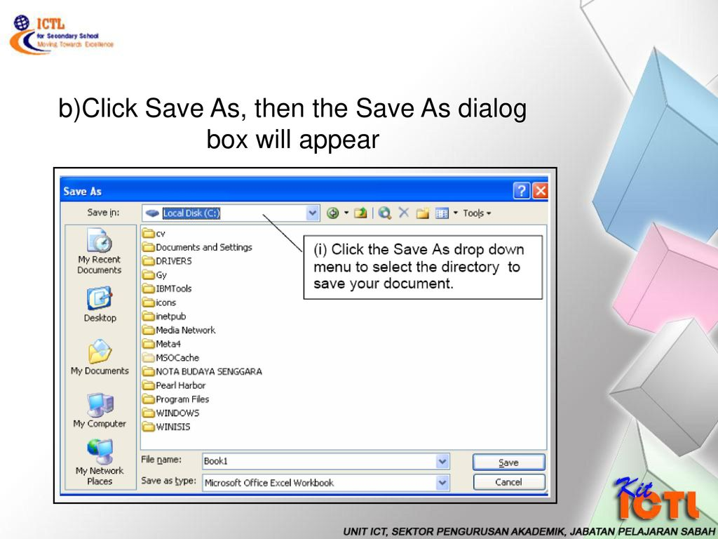 Introduction to the ms excel ppt download 26 bclick save as then the save as dialog box will appear ccuart Images