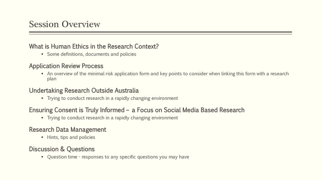 The Social Science Human Research Ethics Committee - ppt