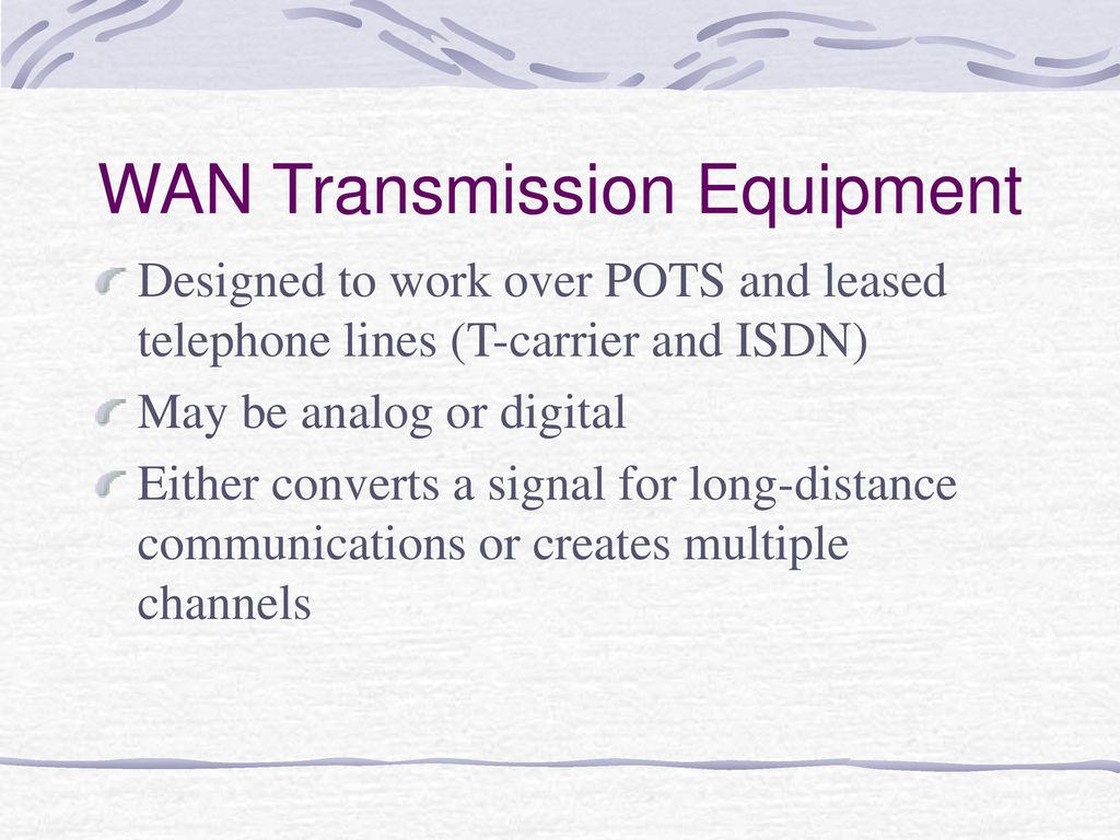 Network Transmission Equipment Ppt Download Analog Signal Over Telephone Lines Wan
