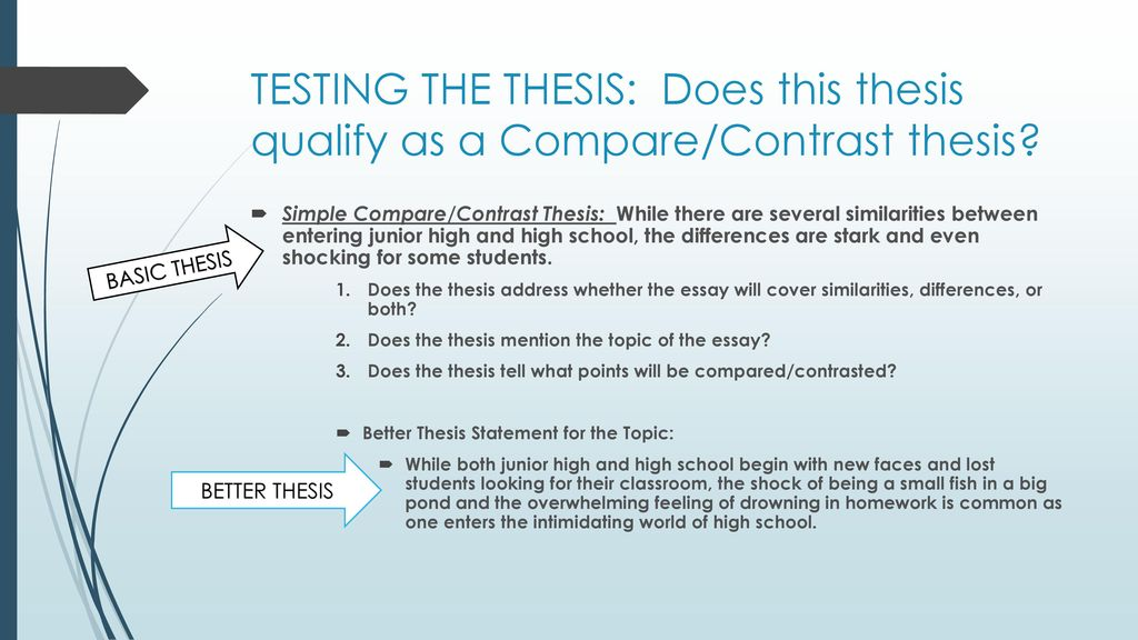 compare and contrast essay writing  ppt download testing the thesis does this thesis qualify as a comparecontrast thesis