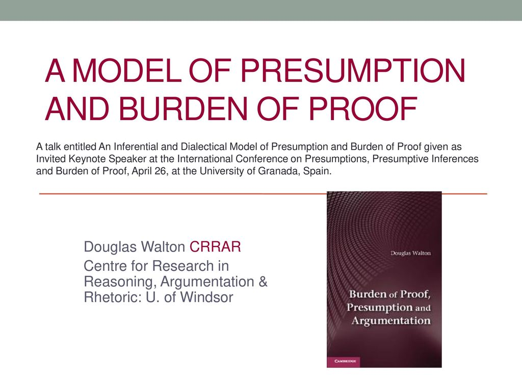 presumptions standards of proof and burden of Presumptions and burdens of proof in louisiana property law  presumptions and burdens of proof for example:  presumptions, inferences and burden of proof in federal civil actions-an anatomy of unnecessary ambiguities and a proposal for reform, 76 nw ul rev 892 (1982.