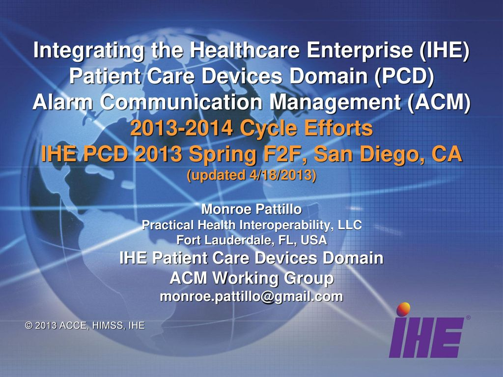 Practical Health Interoperability, LLC IHE Patient Care Devices ...