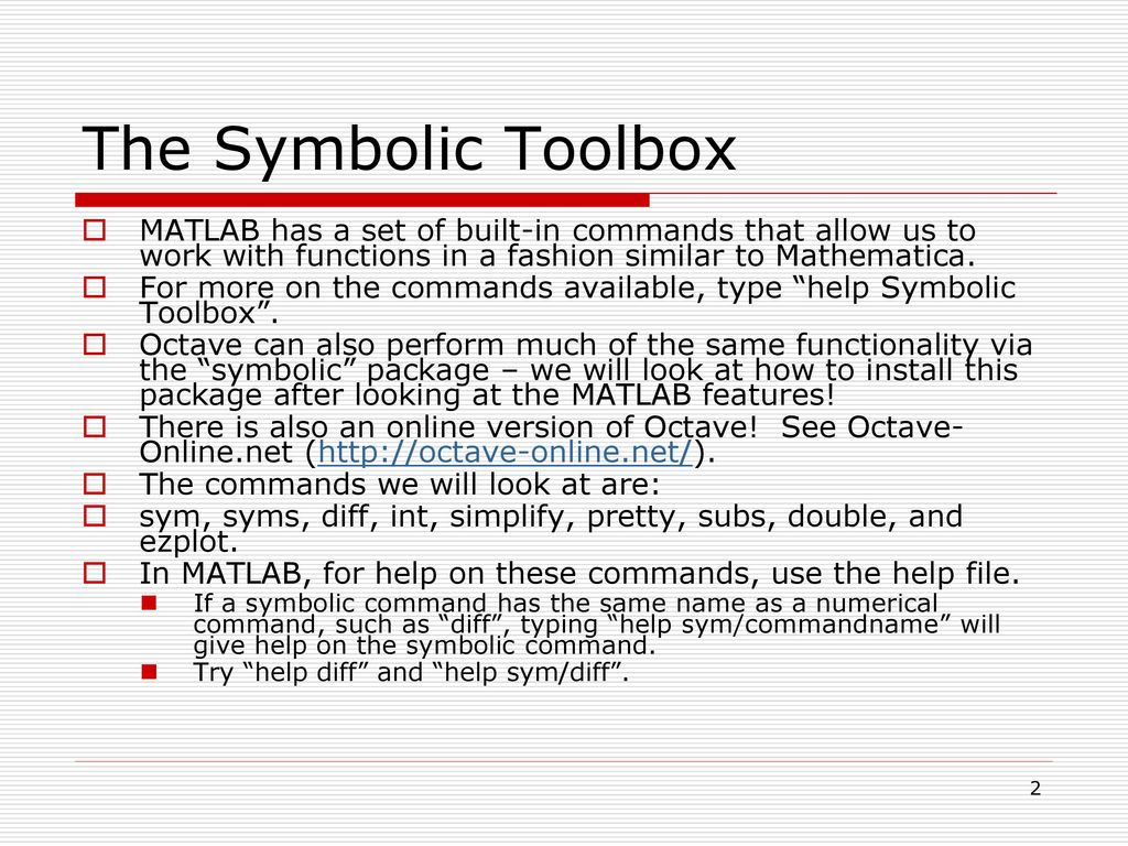 259 Lecture 18 The Symbolic Toolbox Ppt Download
