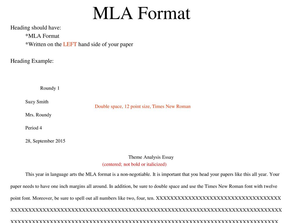 mla format heading 2015