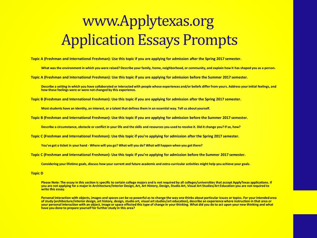 college essay topics for class of    ppt download application essays prompts
