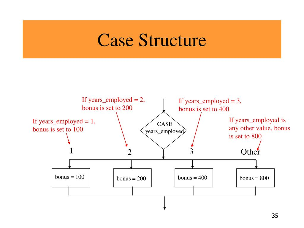 Case Structure Other If years_employed = 2, bonus is set to 200