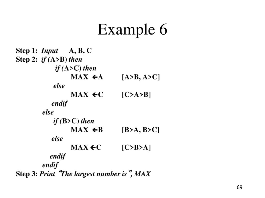 Example 6 Step 1: Input A, B, C Step 2: if (A>B) then