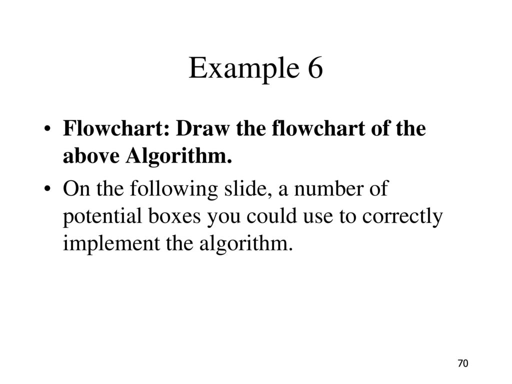 Example 6 Flowchart: Draw the flowchart of the above Algorithm.