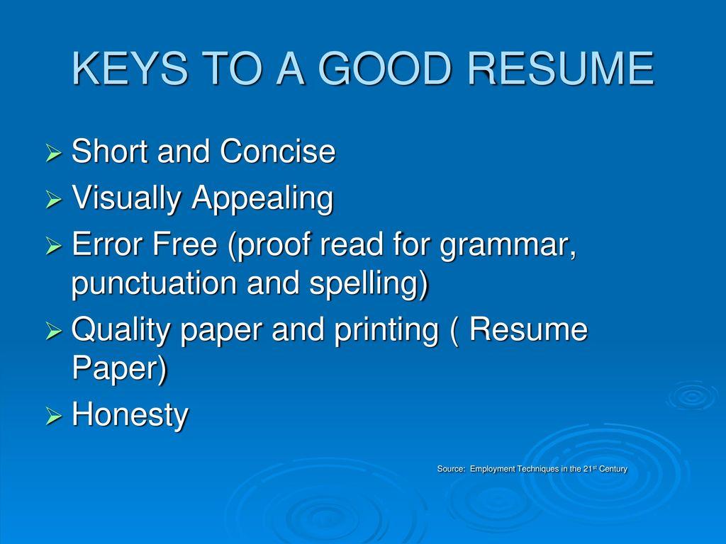 keys to a winning resume ppt download