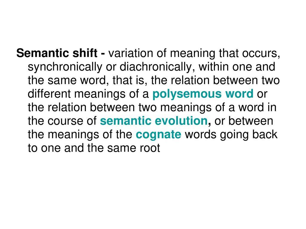 Semantic shift examples
