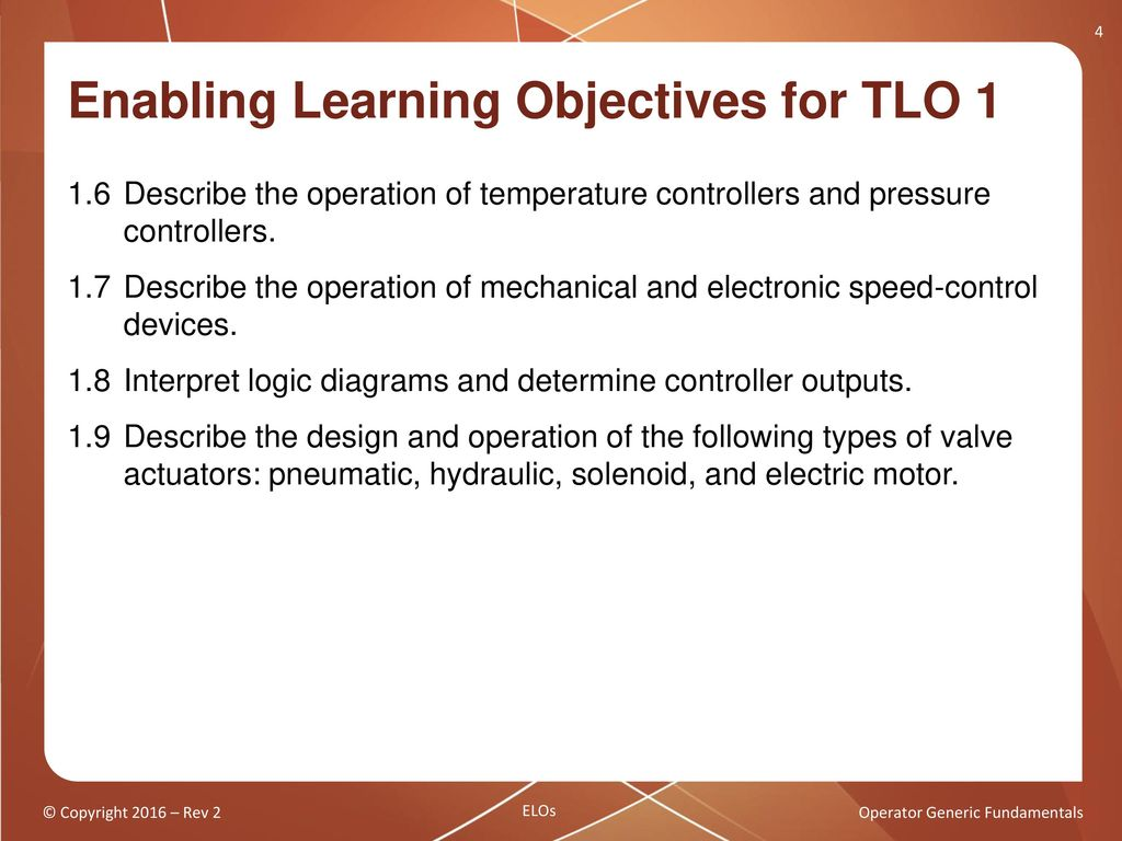 Operator Generic Fundamentals Components Controllers And Pneumatic Electrical Logics Gets Outputs In Different Interval Enabling Learning Objectives For Tlo 1