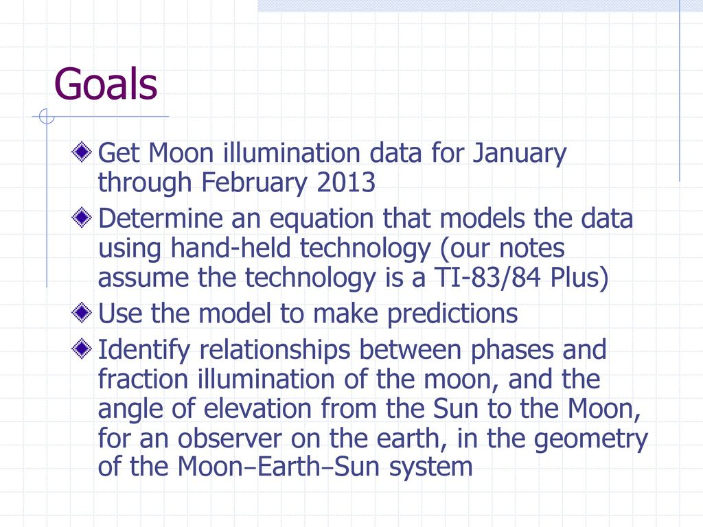 Modeling the phases of the moon with hand held technology  - ppt
