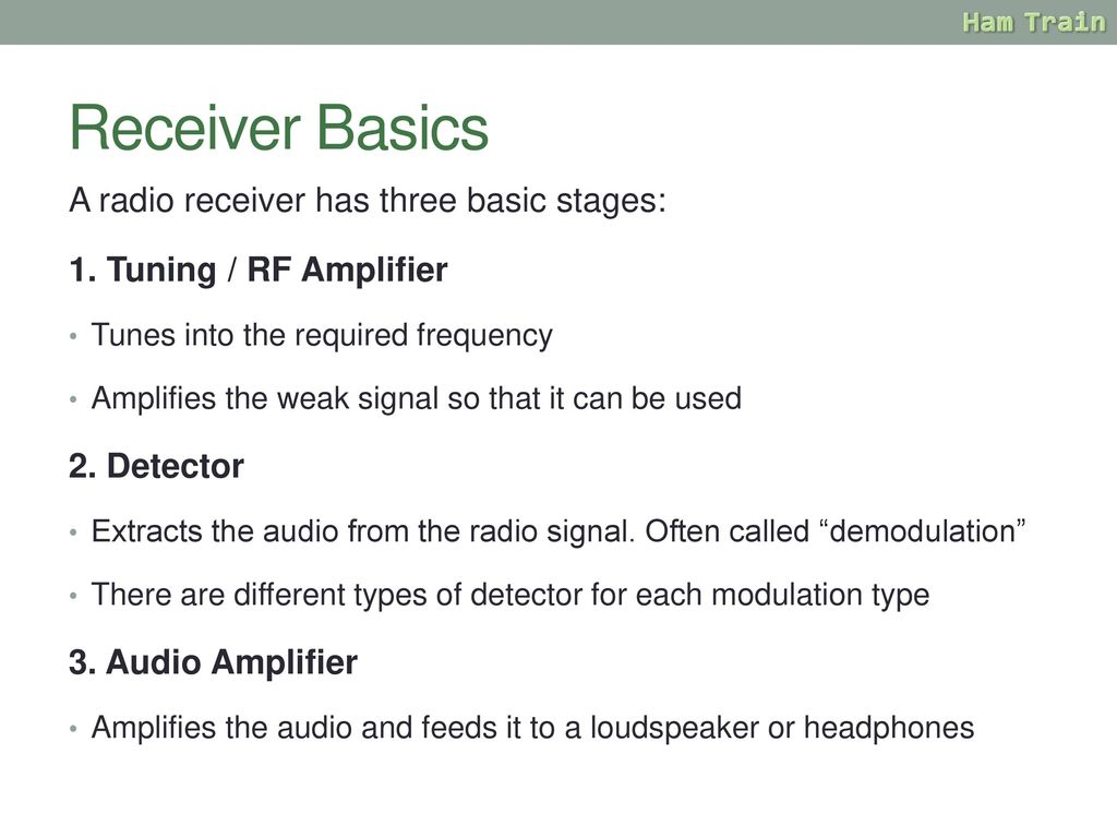 Amateur Radio Training Ppt Download Schematic Of The Third Rf Amplifier And Envelope Detector Receiver Basics A Has Three Basic Stages