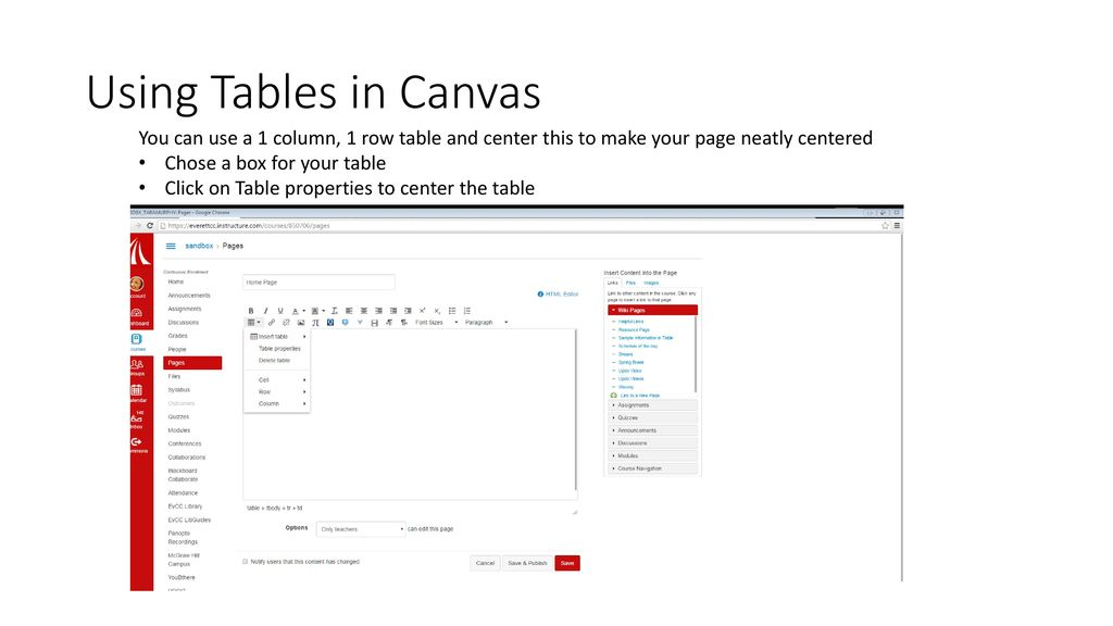Using Tables in Canvas  - ppt download